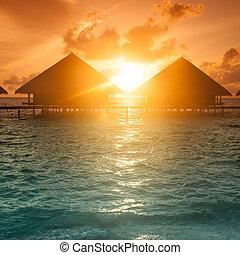 malediwy, zachód słońca, wyspa