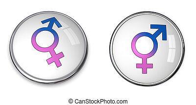 male/female, symbole, bouton, combiné