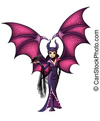maleficent, personagem, isolado, asas, caricatura