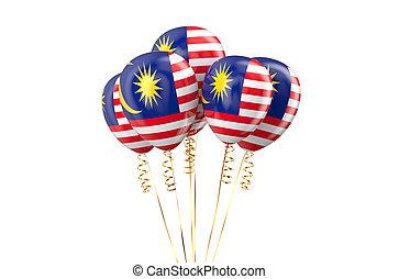 maleisië, vaderlandslievend, ballons, holyday, concept