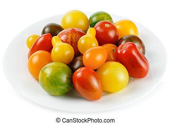 malen, vermalen, anders, kleurrijke, tomaten