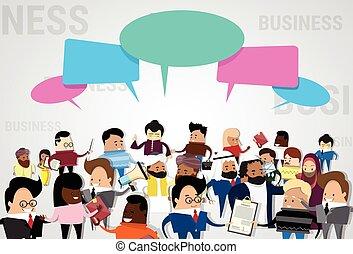 malen, vermalen, groep, netwerk, zakenlui, communicatie, businesspeople, klesten, hardloop, praatje, sociaal, het bespreken, spotprent