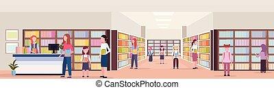 malen, vermalen, hardloop, scholieren, ontlening, boekjes , van, bibliothecaris, moderne, bibliotheek, boekhandel, interieur, lezende , opleiding, kennis, concept, plat, volledige lengte, horizontaal, spandoek