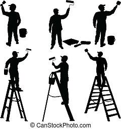 malere, adskillige, arbejdere, silhuet