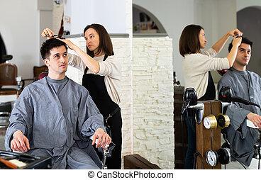 male's, coiffeur, salon coiffure, coupure, cheveux