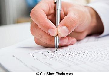 male?s, hand het schrijven, in, de, document