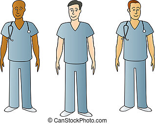 Males In Scrubs - Three male medical professionalswearing...