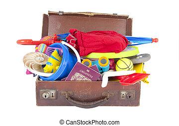 maleta abierta, lleno, de, vacaciones del verano, o,...