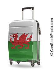maleta, con, bandera nacional, en, él, -, gales