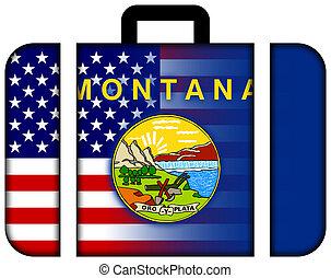 maleta, con, estados unidos de américa, y, estado de montana, bandera