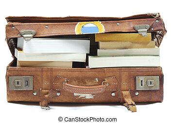 maleta, con, libros