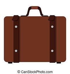 maleta, con, manija, icono