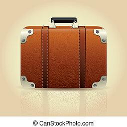 maleta, cuero