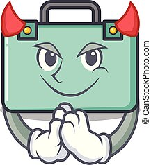 maleta, estilo, diablo, caricatura, mascota