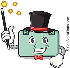 maleta, estilo, mago, caricatura, mascota