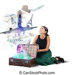 maleta, lleno, de, memorias