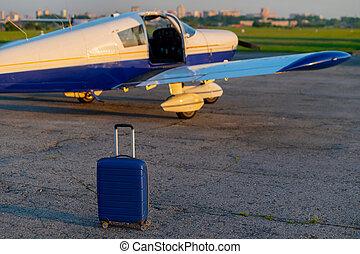 maleta, sí mismo, viaje, chorro., cuádruple, avión, ...