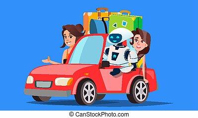 maletas, coche, gente, aislado, ilustración, robot, coche., ...