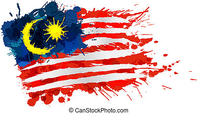 malezyjska bandera, robiony, od, barwny, plamy