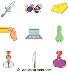 Malfeasance icons set, cartoon style