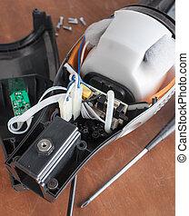 malfunctioning, limpiador, vacío, desmontado, reparación