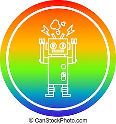 malfunctioning robot circular in rainbow spectrum - ...