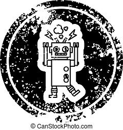 malfunctioning robot distressed icon symbol