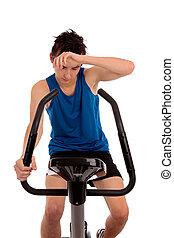 malhação, após, exercício, esvaziado, bicicleta