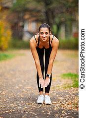 malhação, mulher, rua, exercício, fitness.