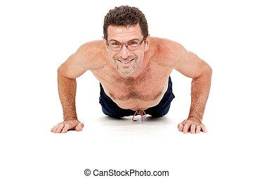malhação, pushups, isolado, adulto, homem sorridente