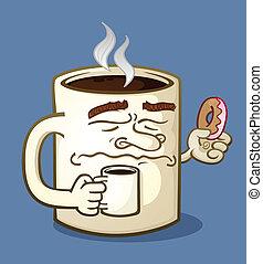 malhumorado, carácter, café, caricatura, comer