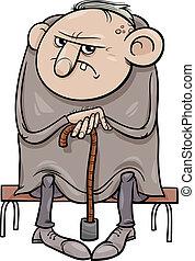 malhumorado, viejo, caricatura, ilustración, hombre