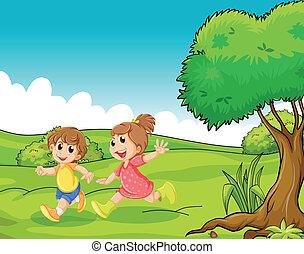 maličký, děti, strom, dva, hilltop, rozkošný, hraní