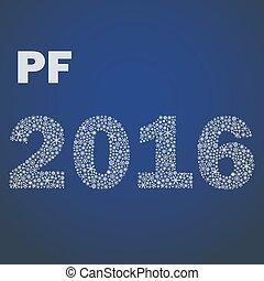 maličký, eps10, sněhové vločky, pf, rok, čerstvý, 2016, šťastný