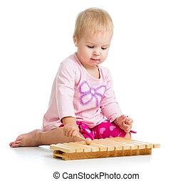 maličký, hračka, hraní, děvče, hudební