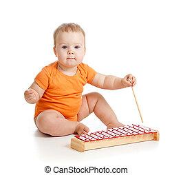 maličký, hračka, hudební, holčička, hraní