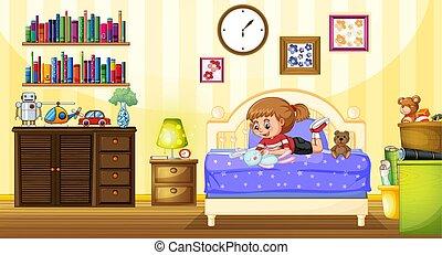 maličký, ložnice, hraní, děvče, panenka