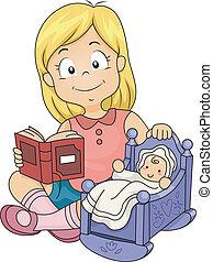 maličký, panenka, holčička, hraní, kůzle