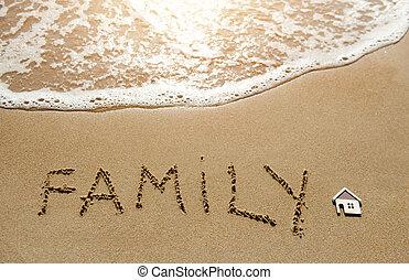 maličký, rodina, ubytovat se, napsáný, písčina najet na břeh