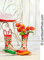 maličký, tulipán, sluha, déšť, tvrdý idle