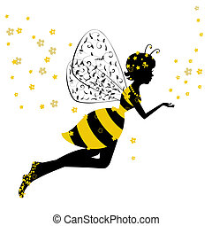 maličký, víla, děvče, včela