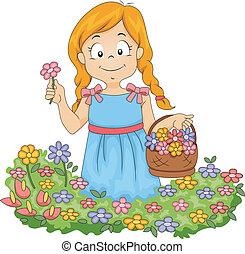 maličký, zahrada, paběrky přivést do květu, děvče, kůzle