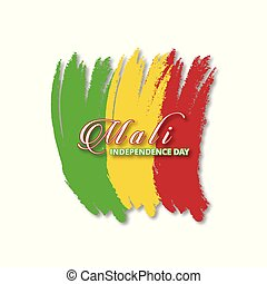 Mali Brush Stroke Flag with typography Independence Day