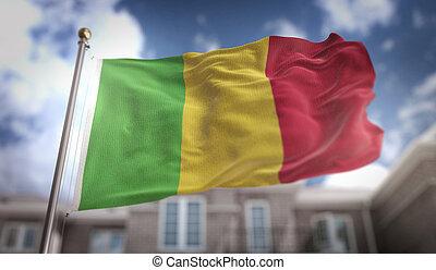 Mali Flag 3D Rendering on Blue Sky Building Background