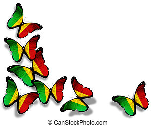 Mali flag butterflies, isolated on white background