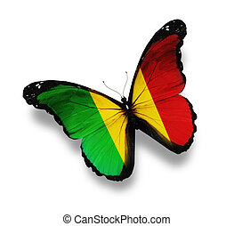 Mali flag butterfly, isolated on white