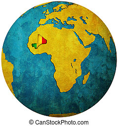 mali flag on globe map - mali territory with flag on map of ...