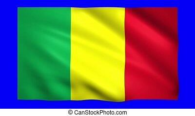 Mali flag on green screen for chroma key