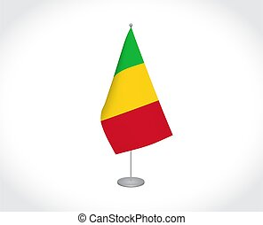 Mali flag on white background - National fabric vector flag ...
