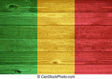 Mali Flag painted on old wood plank background.